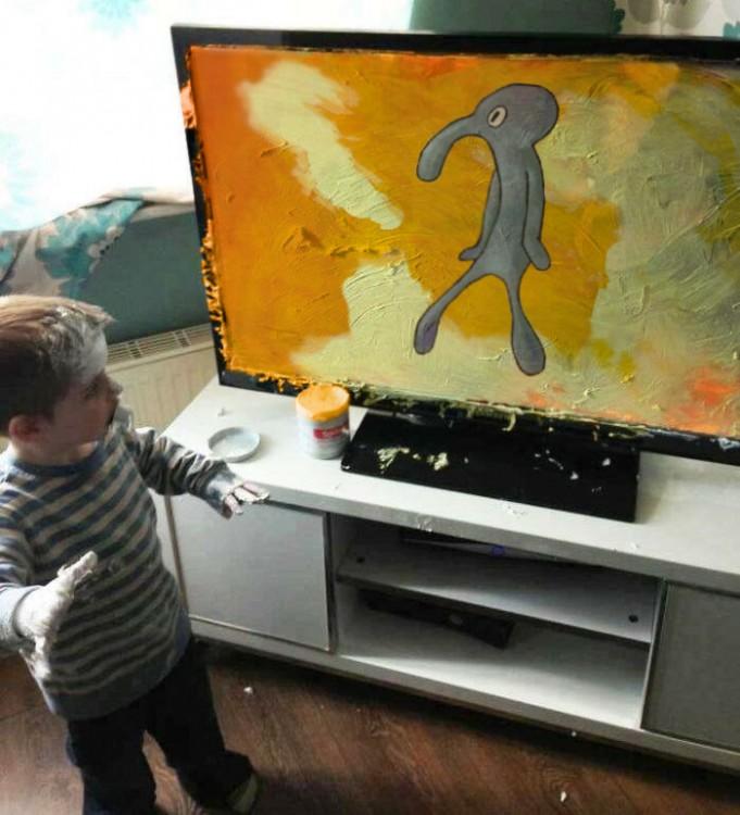 dibujo de calamardo de Niño mancha pantalla de televisorNiño mancha pantalla de televisor