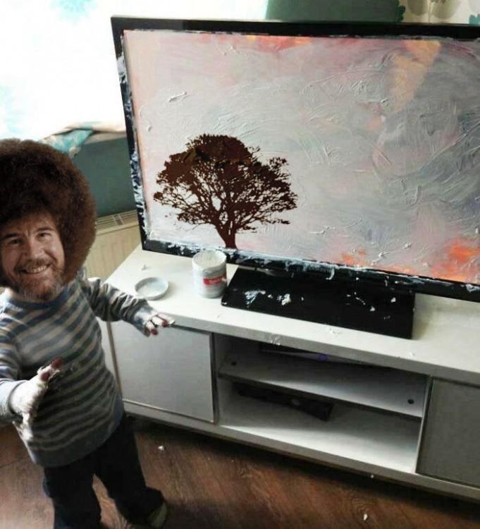 Bob Ross Niño mancha pantalla de televisor