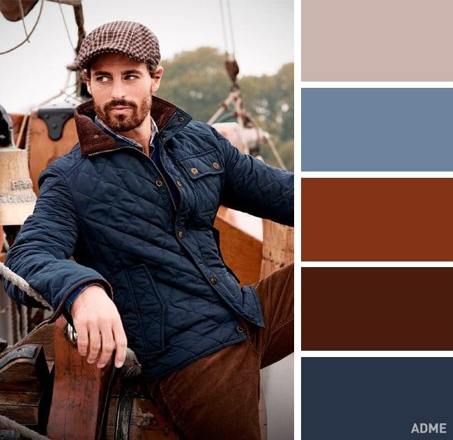 Azul oscuro clásico y marrón
