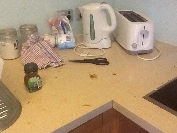 barra de la cocina sucia