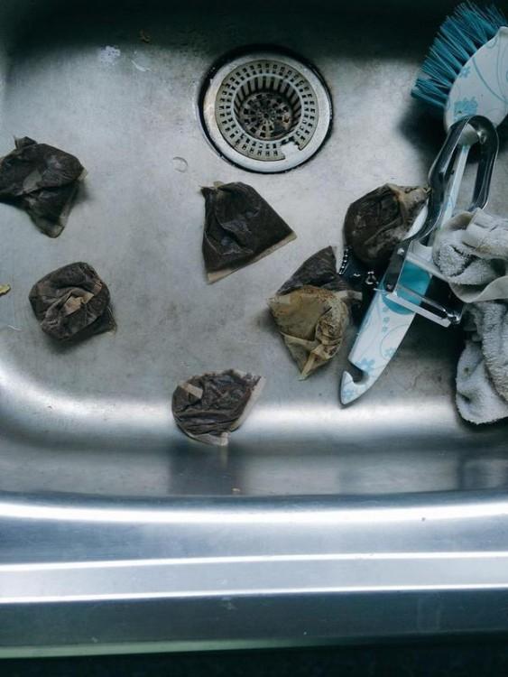 bolsas de té en el lavabo