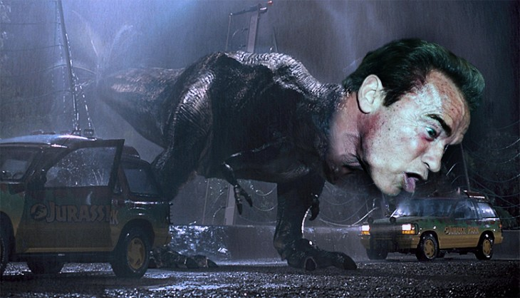 Jurasic Park, Photoshop de Schwarzenegger