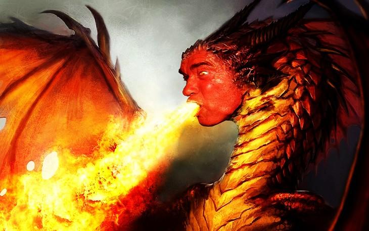 dragón lanzado fuego Photoshop de Schwarzenegger