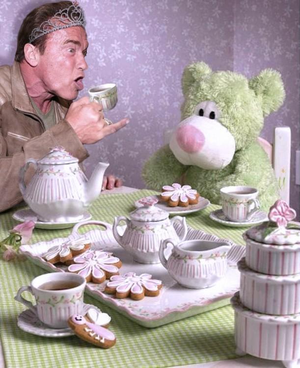 tomando el té. Photoshop de Schwarzenegger