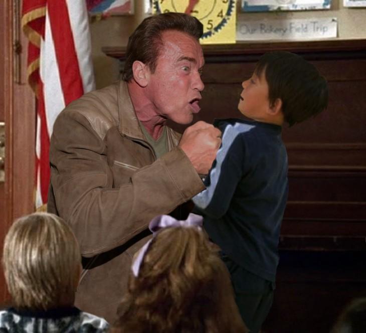 Photoshop de Schwarzenegger golpeando a niño