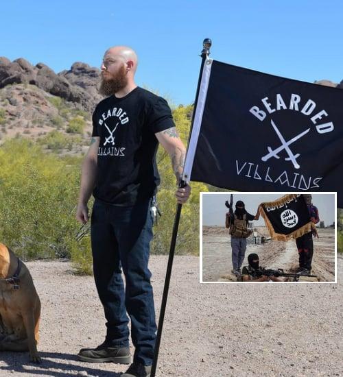 comparación de banderas del isis y de The Bearded Villains
