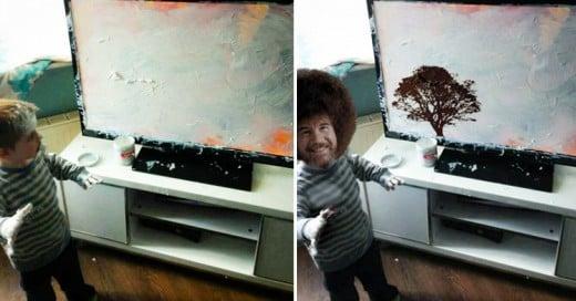Épica batalla de Photoshop por la travesura de este niño, creatividad TOTAL!