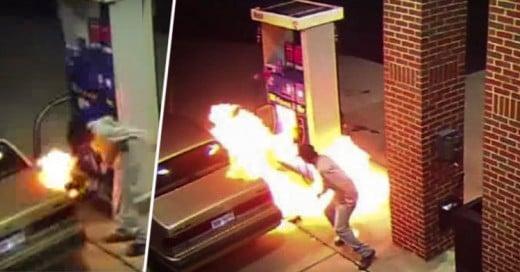 Hombre incendia una gasolinera tras intentar matar a una araña con fuego
