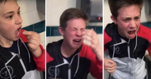 Un joven comie un Chile Fantasma... ¡Aquí está su reacción!