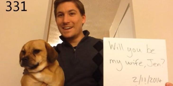 dean smith proponiendo matrimonio con perro