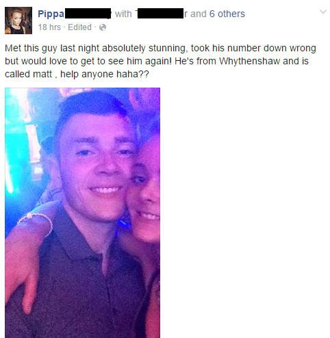 Post de Pippa buscando a Matt