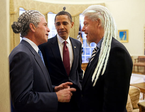 Bush, Obama y Bill Clinton peinado hipster