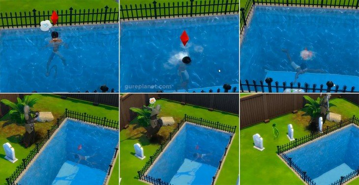 The Sims piscina y ahogado