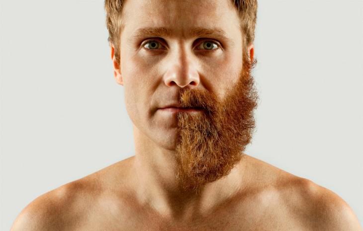 Hombre con mitad de barba en la cara