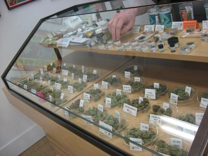Mostrador de marihuana en tienda medicinal