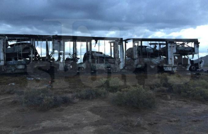 autos lujosos de floyd mayweather quemados en un camion
