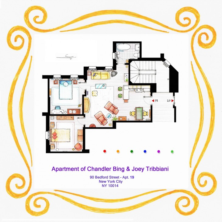 plano del departamento de chandler y joey friends