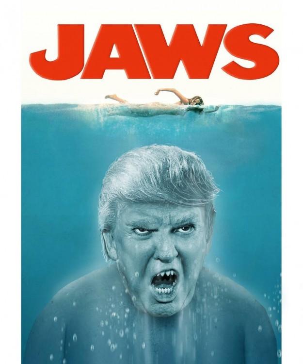Donald Trump en cartel de Tiburón
