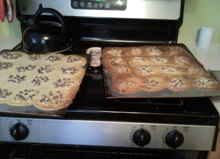 Galletas mal hechas sobre la estufa