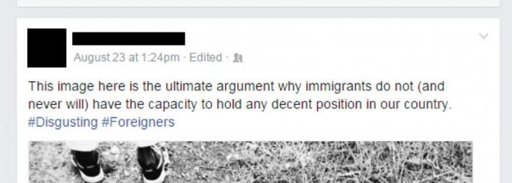 post de joven racista en Facebook