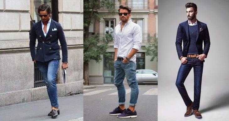Hombres con variso tipos de zapatos y jeans