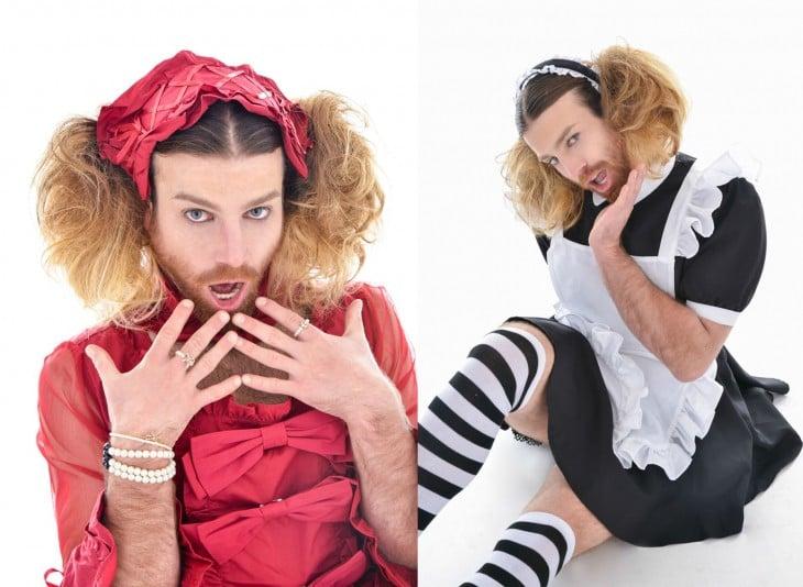 Lady Beard con dos vestidos