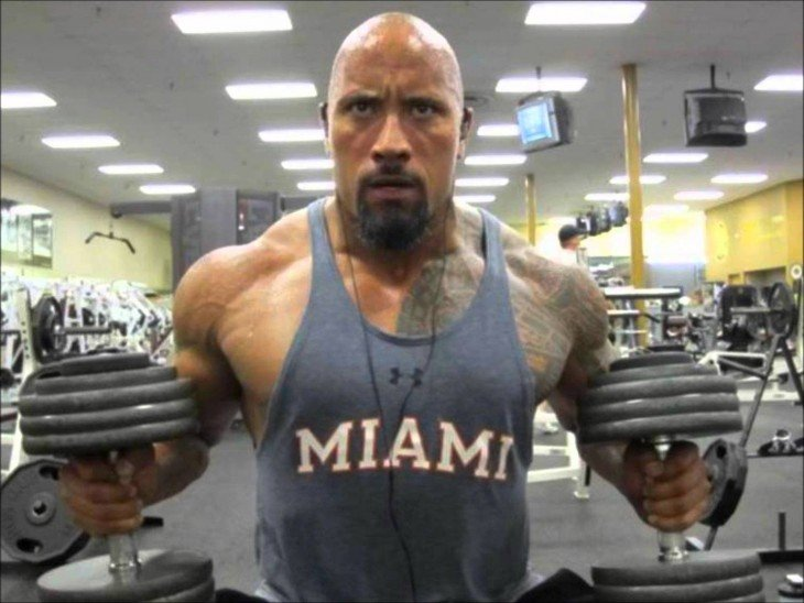 the Rock en el gimnasio