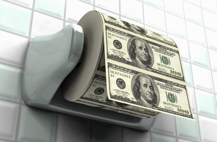 Dólares en papel higiénico