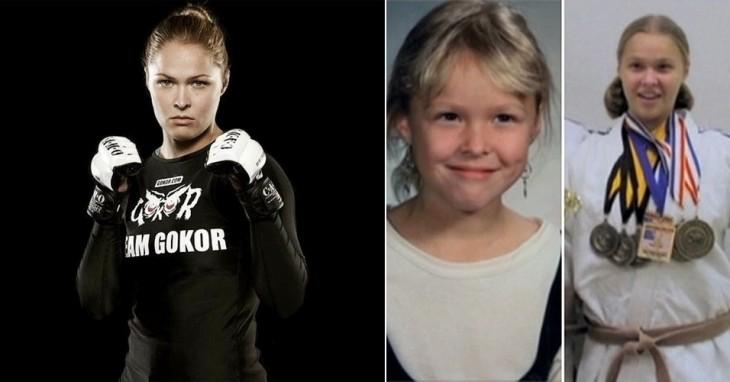 Ronda Rousey niña, adolescente y adulta