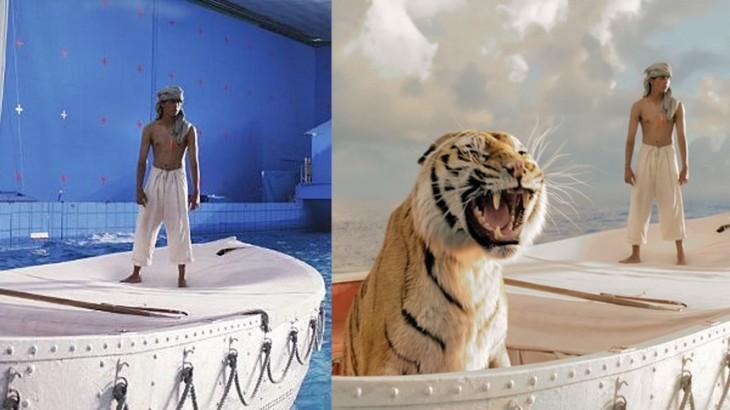 Tigre y hombre en una balsa