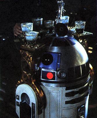R2-D2 sirviendo tragos con Jabba the Hutt