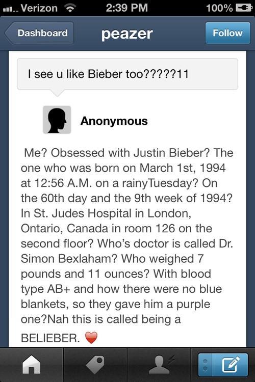 tuit de fan de Justin Bieber