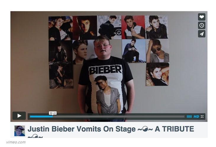 reto vomitar Justin Bieber