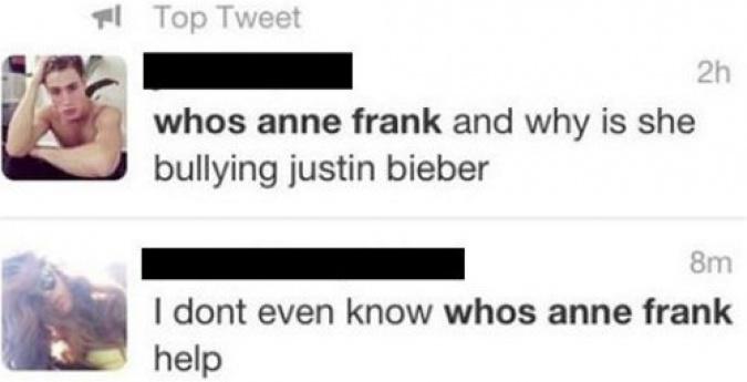 Anna Frank y Justin Bieber