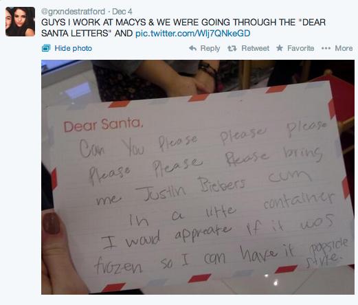 carta de navidad Justin Bieber