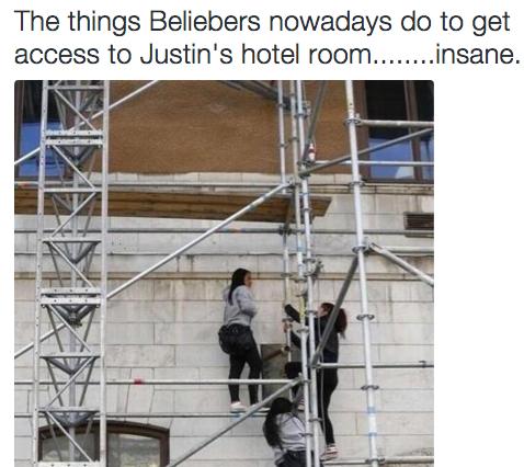 fans de Justin Bieber suben al hotel