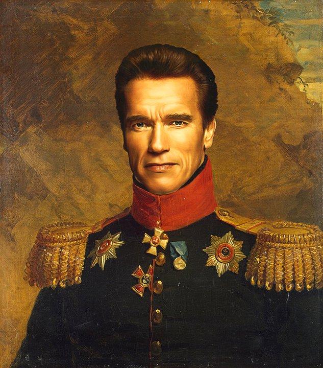 Arnold Schwarzenegger retratado por artista steve payne como un general militar