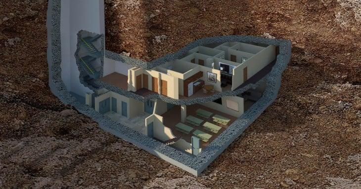 Plano 3D de búnker en Georgia