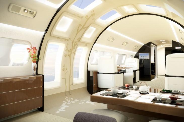 Una de las salas de un jet privado