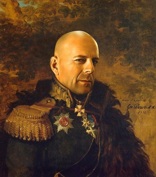 Bruce Willis vestido de general militar steve payne