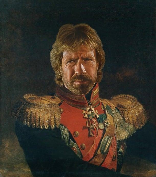 Chuck Norris retrato de general militar steve payne