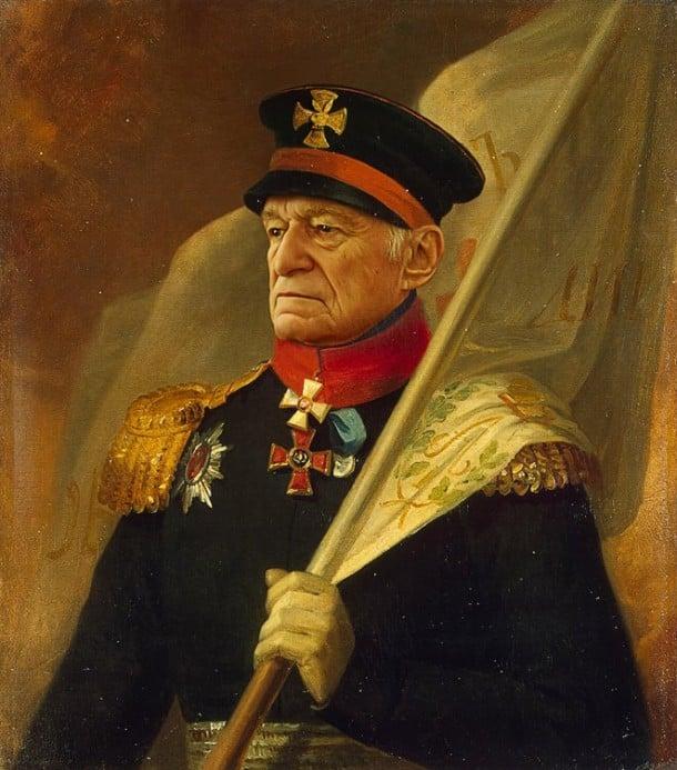 Hugh Hefner retrato de general militar steve payne