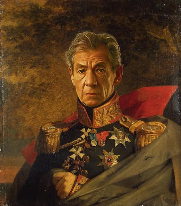 Ian Mckellen retrato de general militar steve payne