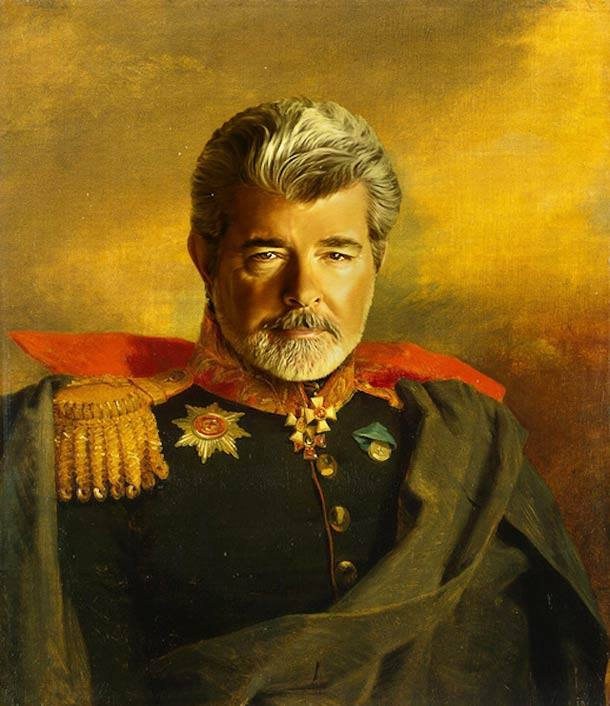 George Lucas vestido de general militar steve payne
