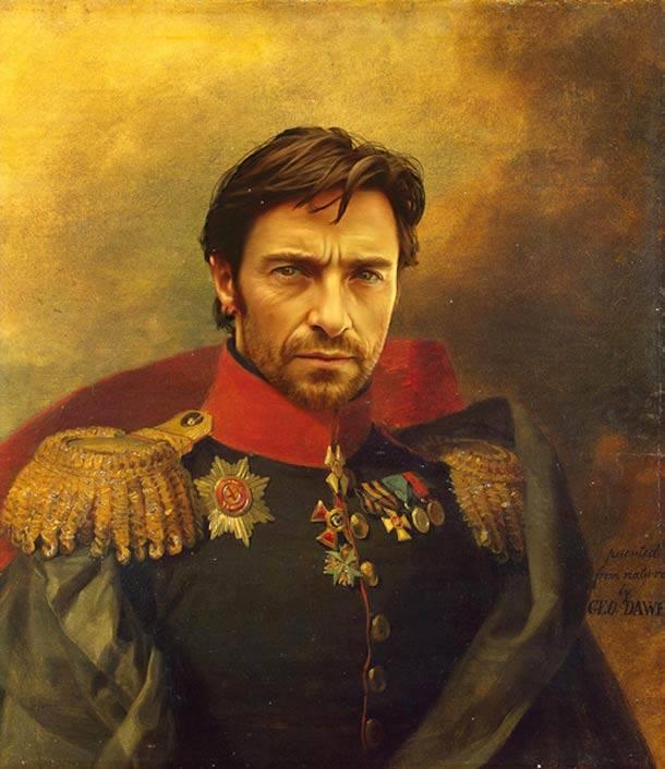 Hugh Jackman retrato de general militar steve payne