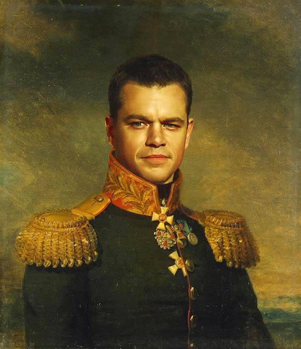Matt Damon retrato de general militar steve payne