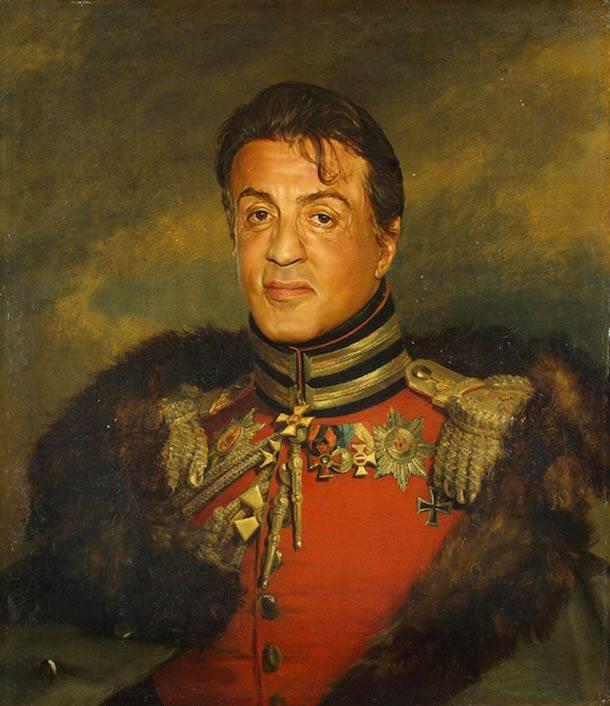 Sylvester Stallone retrato de general militar steve payne