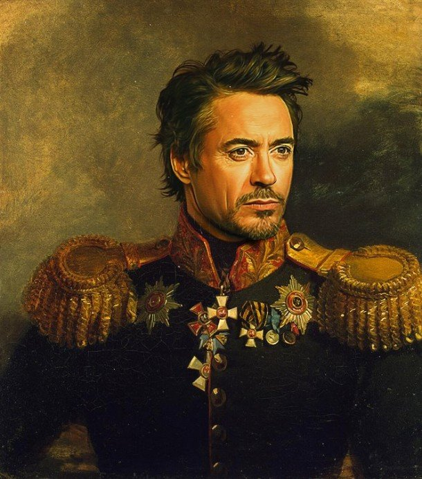 Robert Downey Jr vestido de general militar steve payne