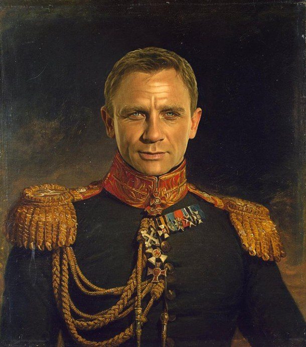 Daniel Craig vestido de general militar steve payne
