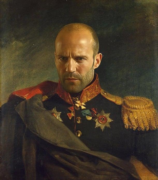 Jason Statham retrato de general militar steve payne